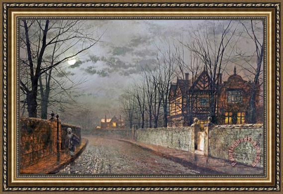 John Atkinson Grimshaw Old English House Moonlight After Rain Framed Print For Sale