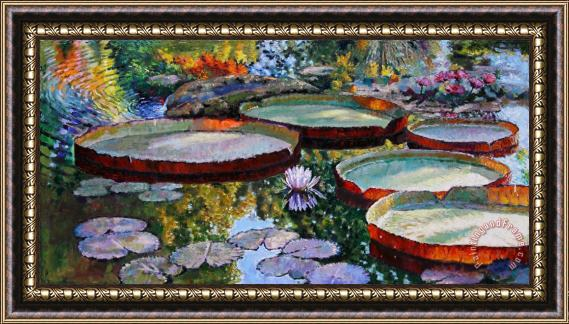 John Lautermilch Morning Sunlight on Fall Lily Pond Framed Print
