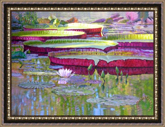 John Lautermilch Sunlight on Lily Pads Framed Painting