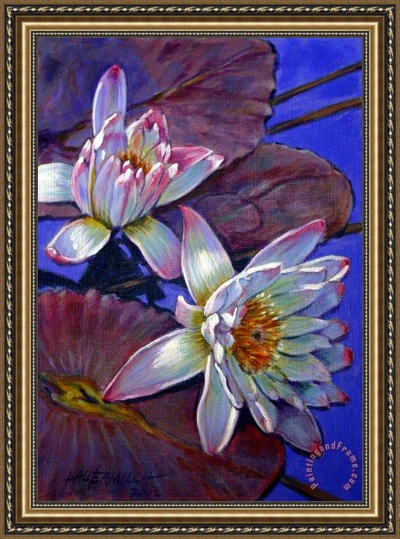 John Lautermilch Two Pink Water Lilies Framed Painting