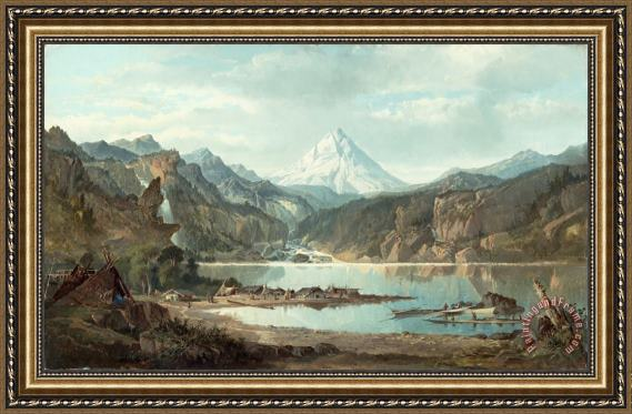 John Mix Stanley Mountain Landscape with Indians Framed Print