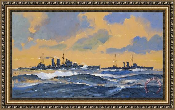 John S Smith The British cruisers HMS Exeter and HMS York Framed Print