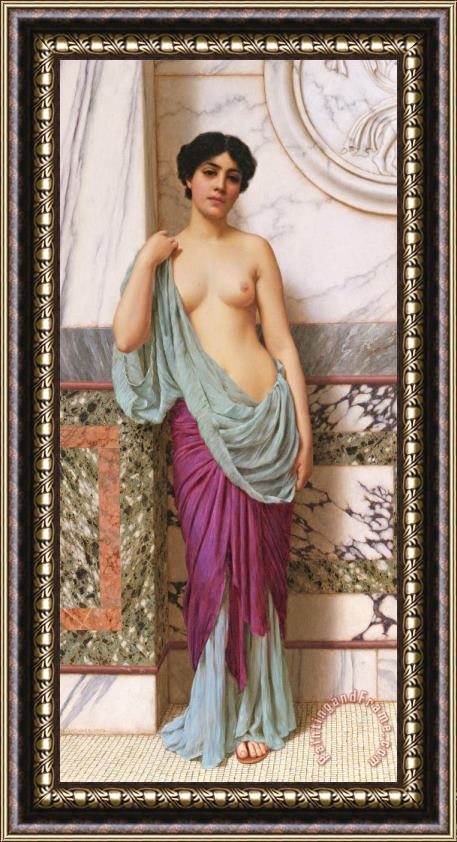 John William Godward In the Tepidarium Framed Print