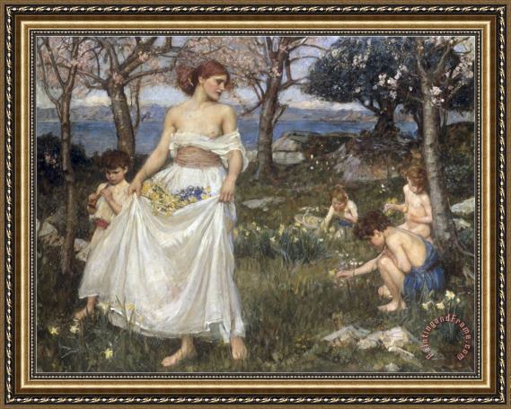 John William Waterhouse A Song of Springtime 1913 Framed Print