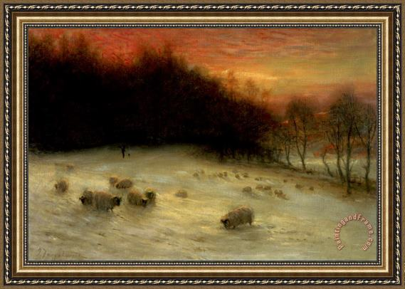 Joseph Farquharson Sheep in a Winter Landscape Evening Framed Painting