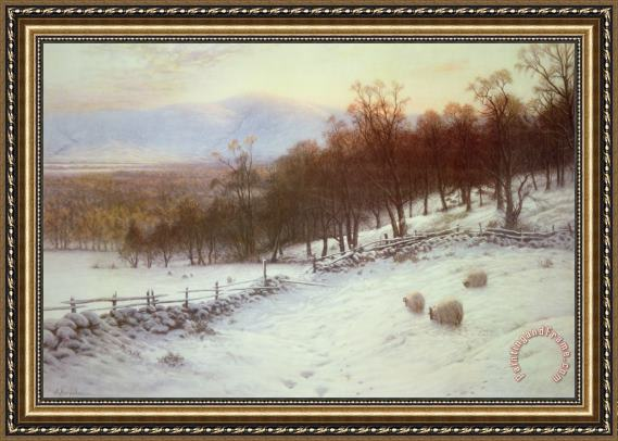 Joseph Farquharson Snow Covered Fields with Sheep Framed Painting