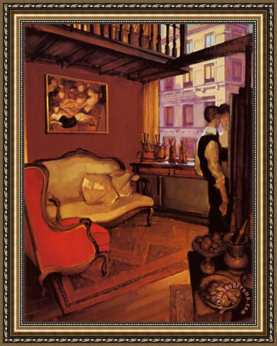 Juarez Machado Red Armchair In A Studio Framed Painting