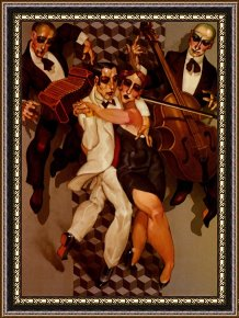Tango Framed Paintings - Tango Levitation by Juarez Machado