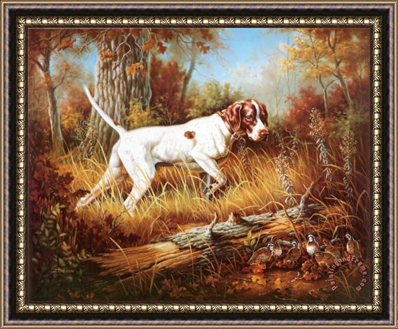 Judy Gibson Pointer with Quail Framed Print