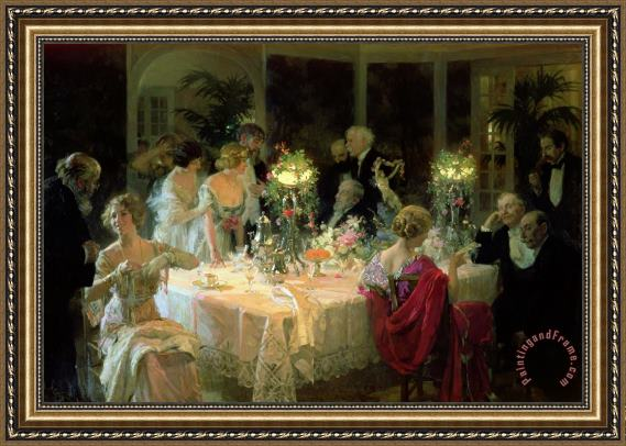 Jules Alexandre Grun The End of Dinner Framed Print