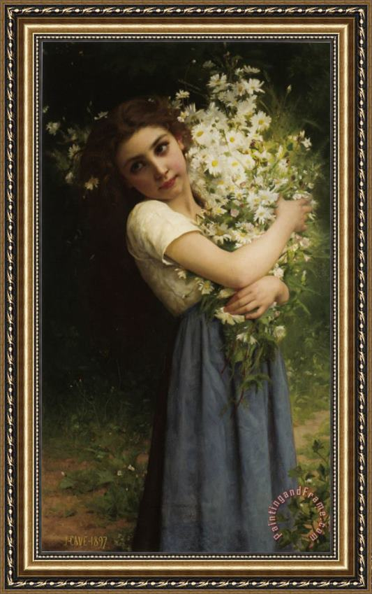 Jules Cyrille Cave The Flower Girl Framed Print