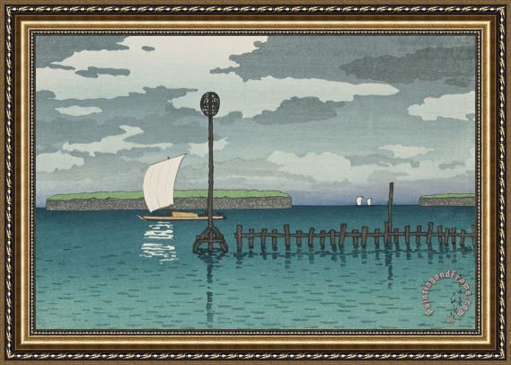 Kawase Hasui Off Shinagawa (shinagawa Oki), From The Series Twelve Subjects of Kyoto Framed Print