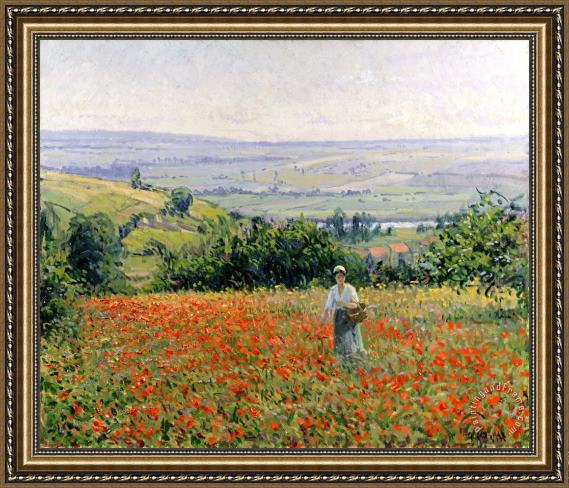 Leon Giran Max Woman in a Poppy Field Framed Print
