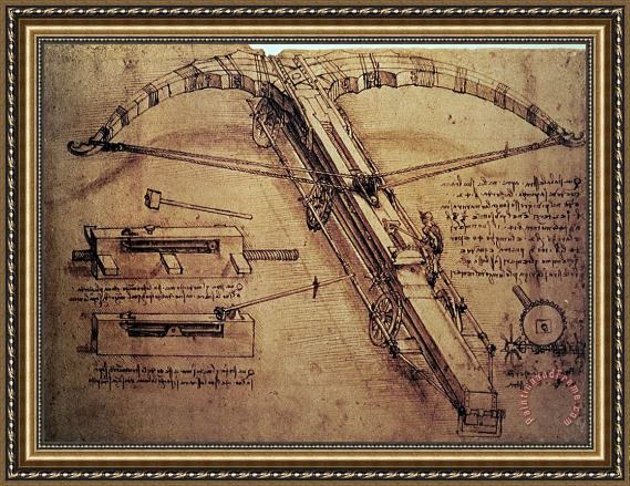 Leonardo Da Vinci Design for a Giant Crossbow Framed Print
