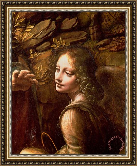 Leonardo Da Vinci Detail of the Angel from The Virgin of the Rocks Framed Print