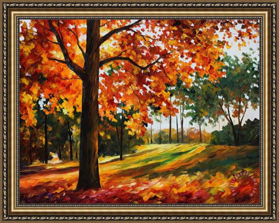 Leonid Afremov Autumn Forest Framed Painting