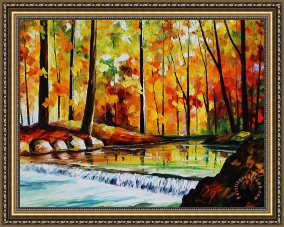 Leonid Afremov Forest Stream Large Size Photo Large Print Available Framed Painting