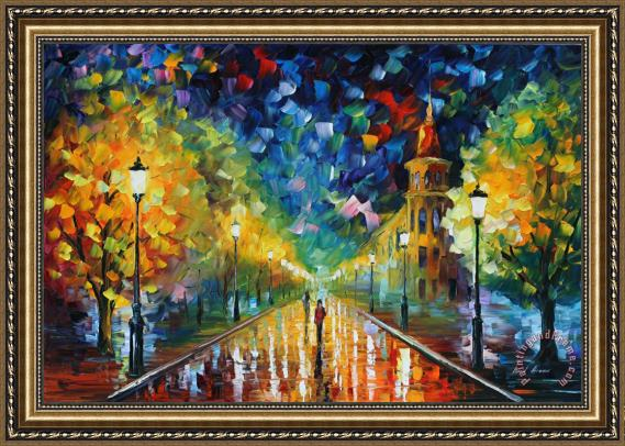 Leonid Afremov Gold Winter Framed Painting