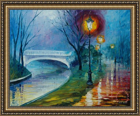 Leonid Afremov Misty Bridge Framed Print