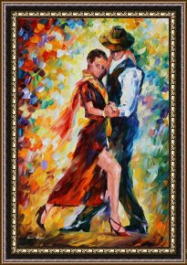 Tango Framed Paintings - Romantic Tango by Leonid Afremov