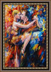 Tango Framed Paintings - Tango Of Love by Leonid Afremov