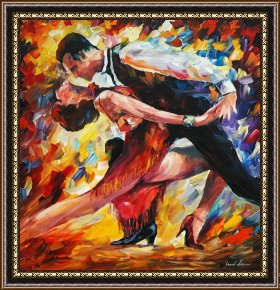 Tango Framed Paintings - Tango Of Passion by Leonid Afremov