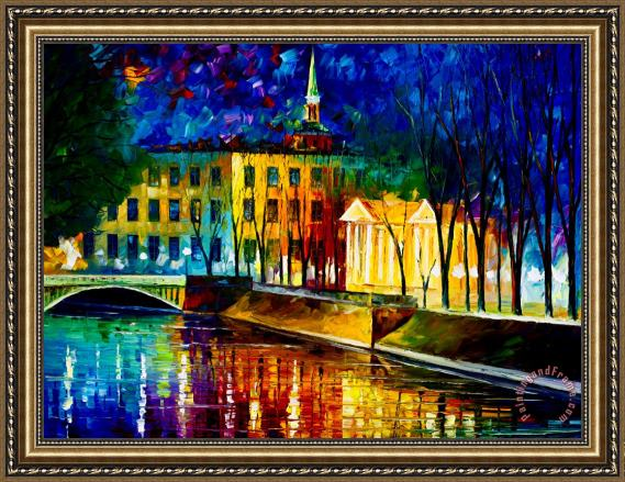 Leonid Afremov Very Large Winter Vibrations Framed Painting