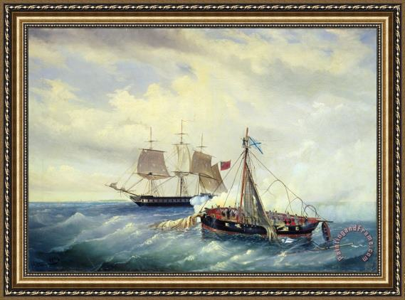 Leonid Demyanovich Blinov Battle between the Russian ship Opyt and a British frigate off the coast of Nargen Island Framed Print