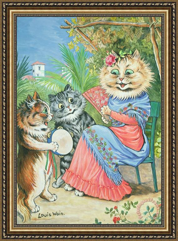 Louis Wain Mother cat with fan and two kittens Framed Print
