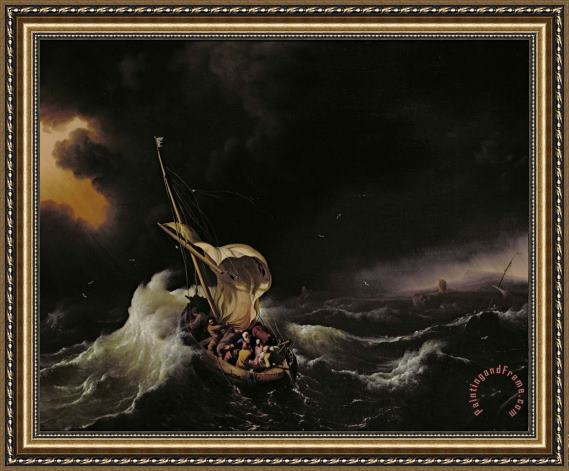Ludolph Backhuysen Christ in the Storm on the Sea of Galilee Framed Print