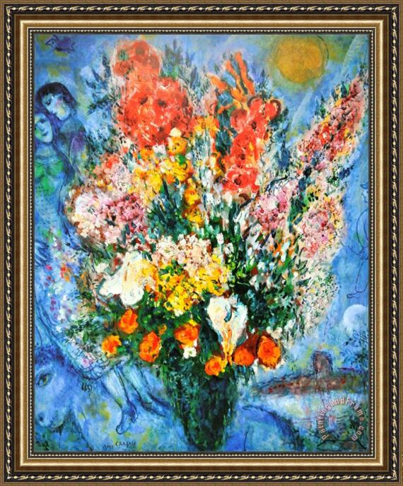 Marc Chagall Vase Of Flowers Le Bouquet 1958 Framed Print