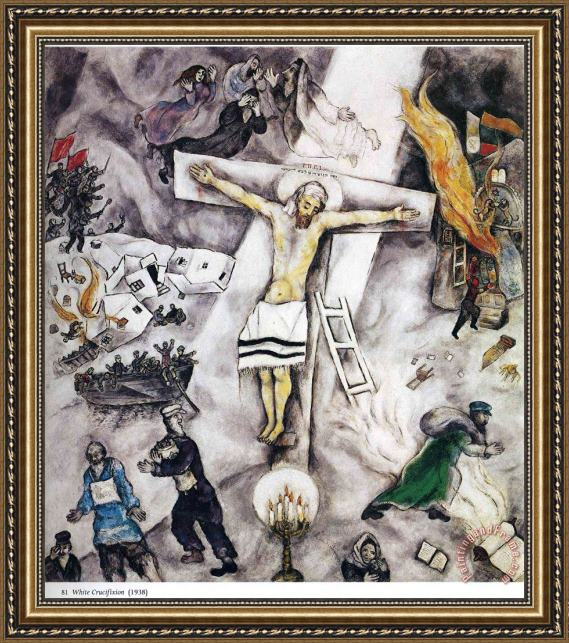 Marc Chagall White Crucifixion 1938 Framed Painting for ... Crucifixion Marc Chagall
