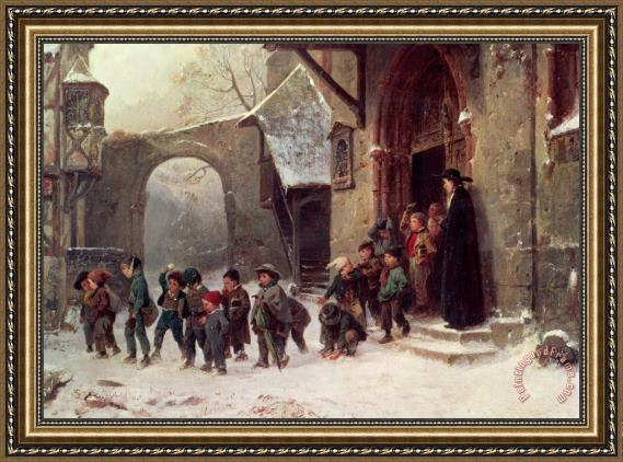 Marc Louis Benjamin Vautier Snow Scene Children Leaving School Framed Painting