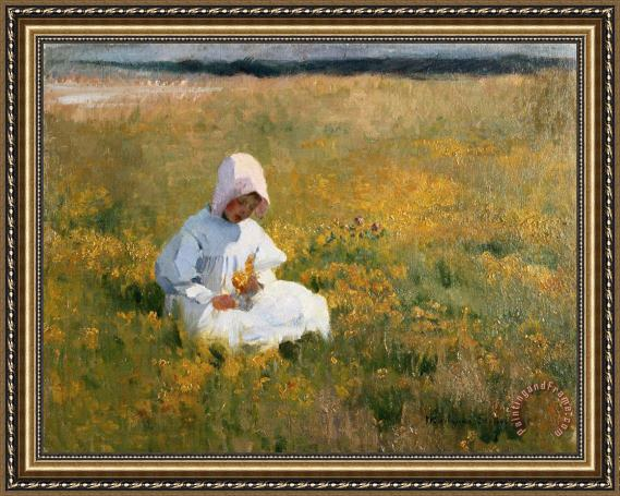 Marianne Stokes In a Field of Buttercups Framed Print