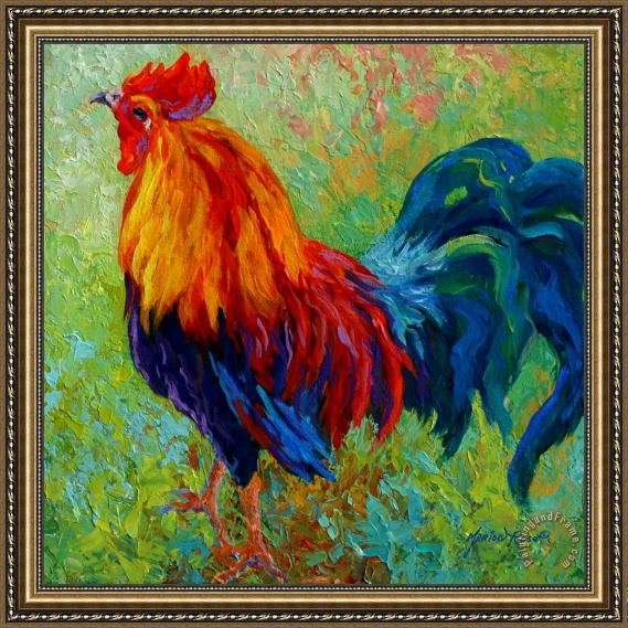 Marion Rose Band Of Gold - Rooster Framed Painting
