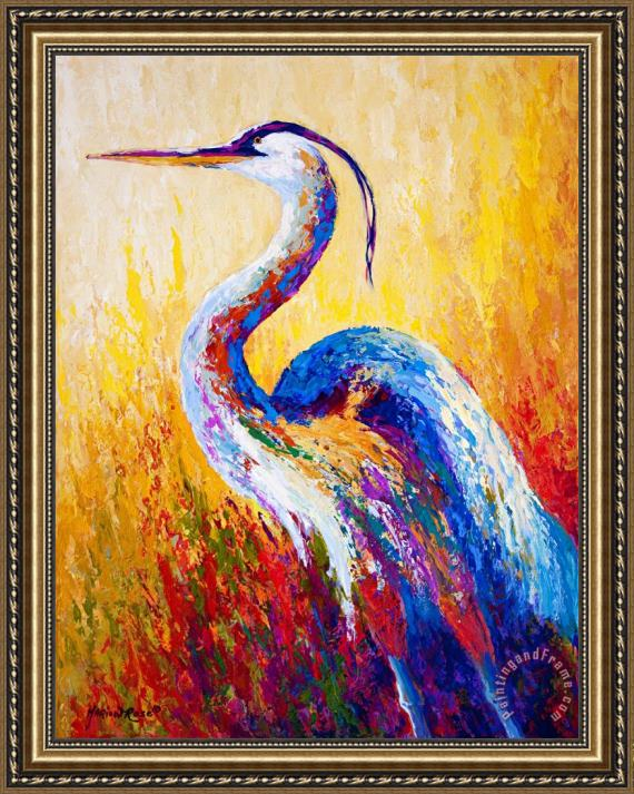 Marion Rose Steady Gaze - Great Blue Heron Framed Painting