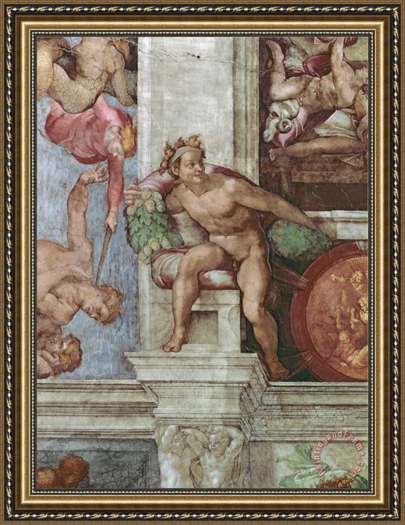 Michelangelo Buonarroti Sistine Chapel Ceiling 1508 12 Expulsion of Adam And Eve From The Garden of Eden Ignudo Framed Print