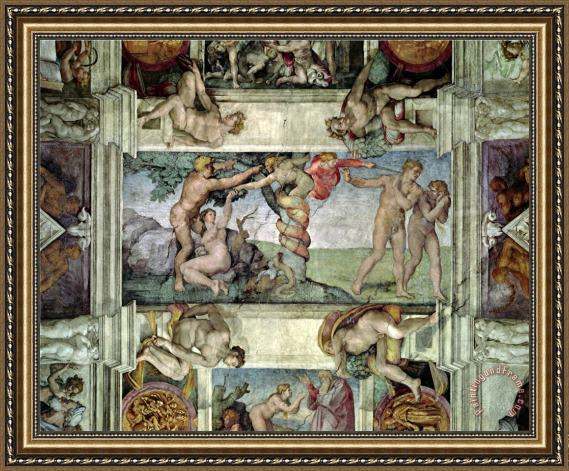 Michelangelo Buonarroti Sistine Chapel Ceiling 1508 12 Expulsion Of Adam And Eve From The Garden Of Eden Framed Painting By Michelangelo Buonarroti