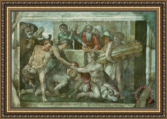 Michelangelo Buonarroti Sistine Chapel Ceiling Noah After The Flood Pre Restoration Framed Print By Michelangelo Buonarroti