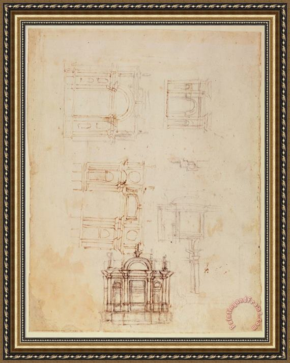 Michelangelo Buonarroti Studies for Architectural Composition in The Form of a Triumphal Arch C 1516 Framed Print