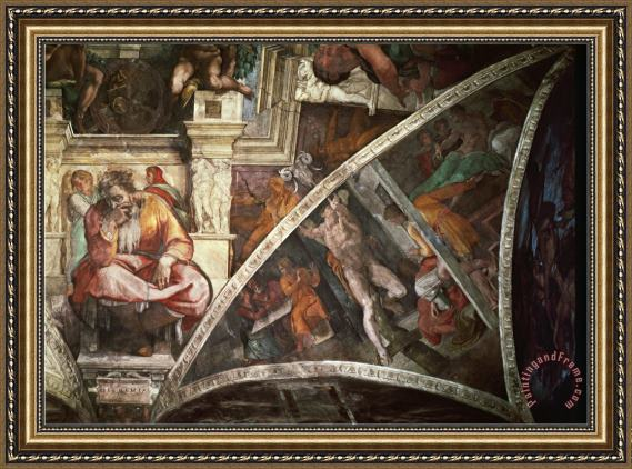 Michelangelo Buonarroti The Sistine Chapel The Prophet Jeremiah The Punishment of Aman Book Esther Framed Print
