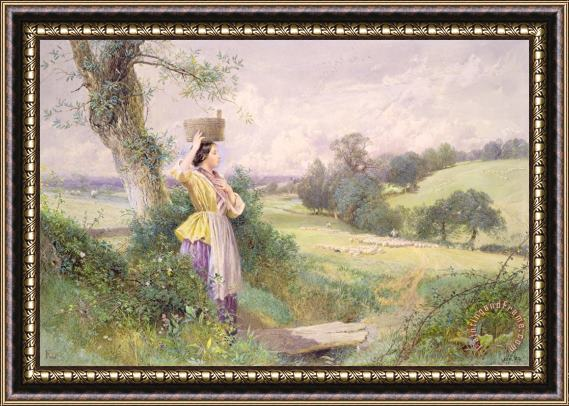 Myles Birket Foster The Milkmaid Framed Print