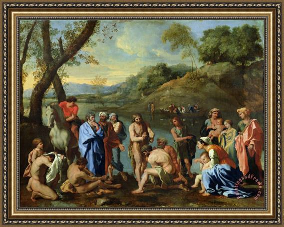 Nicolas Poussin St John Baptising the People Framed Print