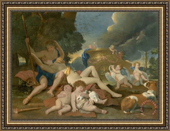 Nicolas Poussin Venus And Adonis Framed Print