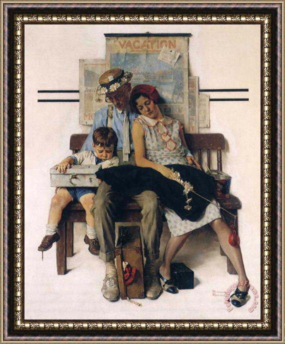 Norman Rockwell Family Home From Vacation Framed Print