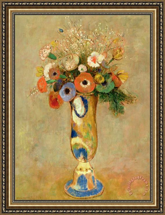 Odilon Redon Flowers In A Painted Vase Framed Print