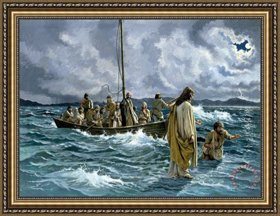 Others Christ walking on the Sea of Galilee Framed Print