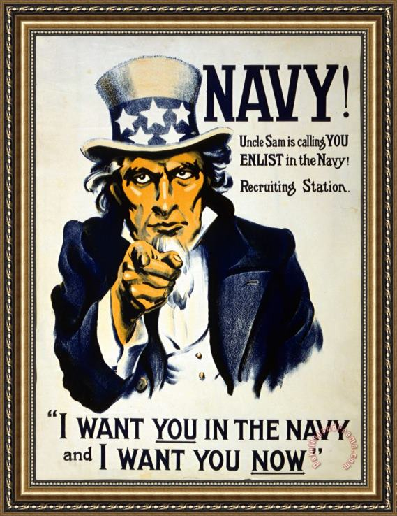Others World War I 1914 1918 American Recruitment Poster 1917 Navy Uncle Sam Is Calling You Framed Print