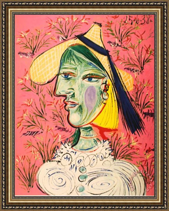 Pablo Picasso Femme Au Chapeau De Paille Sur Fond Fleuri Framed ...