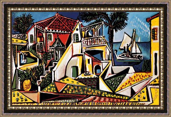 Pablo Picasso Mediterranean Landscape Framed Painting For Sale Paintingandframe Com